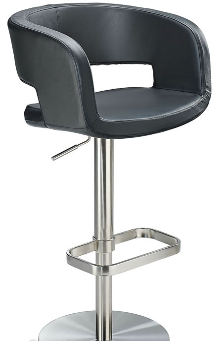 Appius Height Adjustable Black Bar Stool With Real Leather Bucket Seat And Armrest