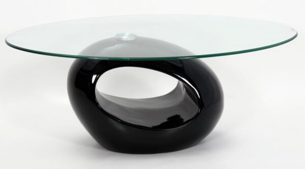 Genevey Mink Grey Glass Gloss Modern Contemporary Coffee Table - Grey