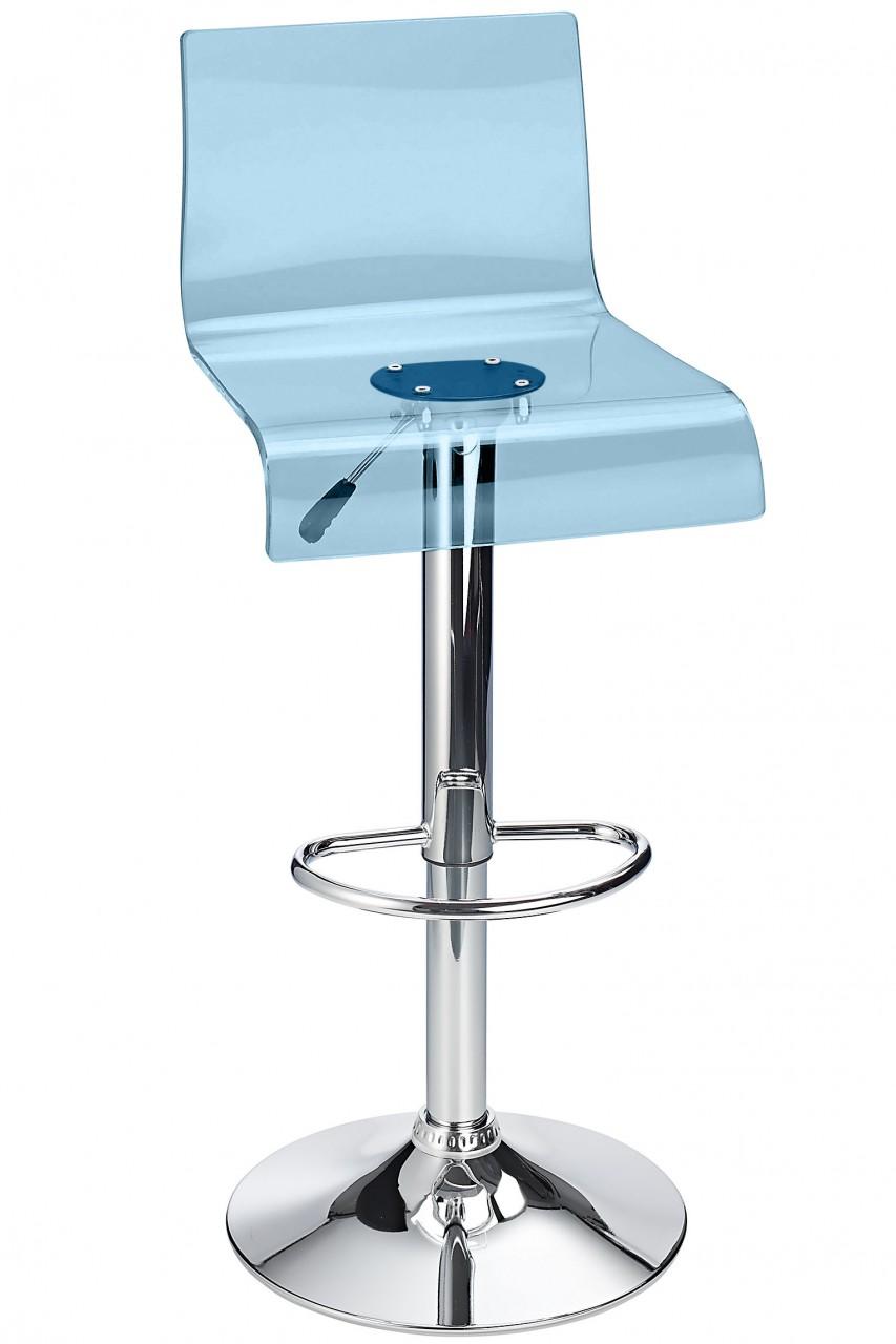 Snazzy Adjustable Acrylic Kitchen Bar Stool Blue