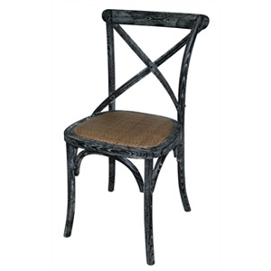 Pair Lucy Retro Vintage Style Black Wooden Dining Kitchen Chair Fully Assembled