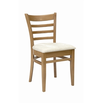 Dalia Oak Frame Kitchen Dining Chair With Cream Padded Seat Pad Fully Assembled