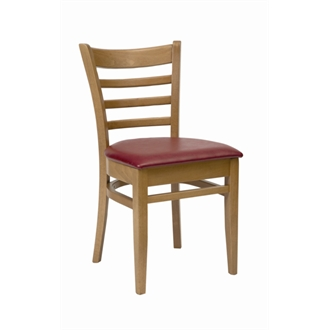 Dalia Oak Frame Kitchen Dining Chair With Red Padded Seat Pad Fully Assembled