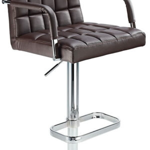 Kaybon Brown Retro Bar Stool Height Adjustable Padded Seat And Arms