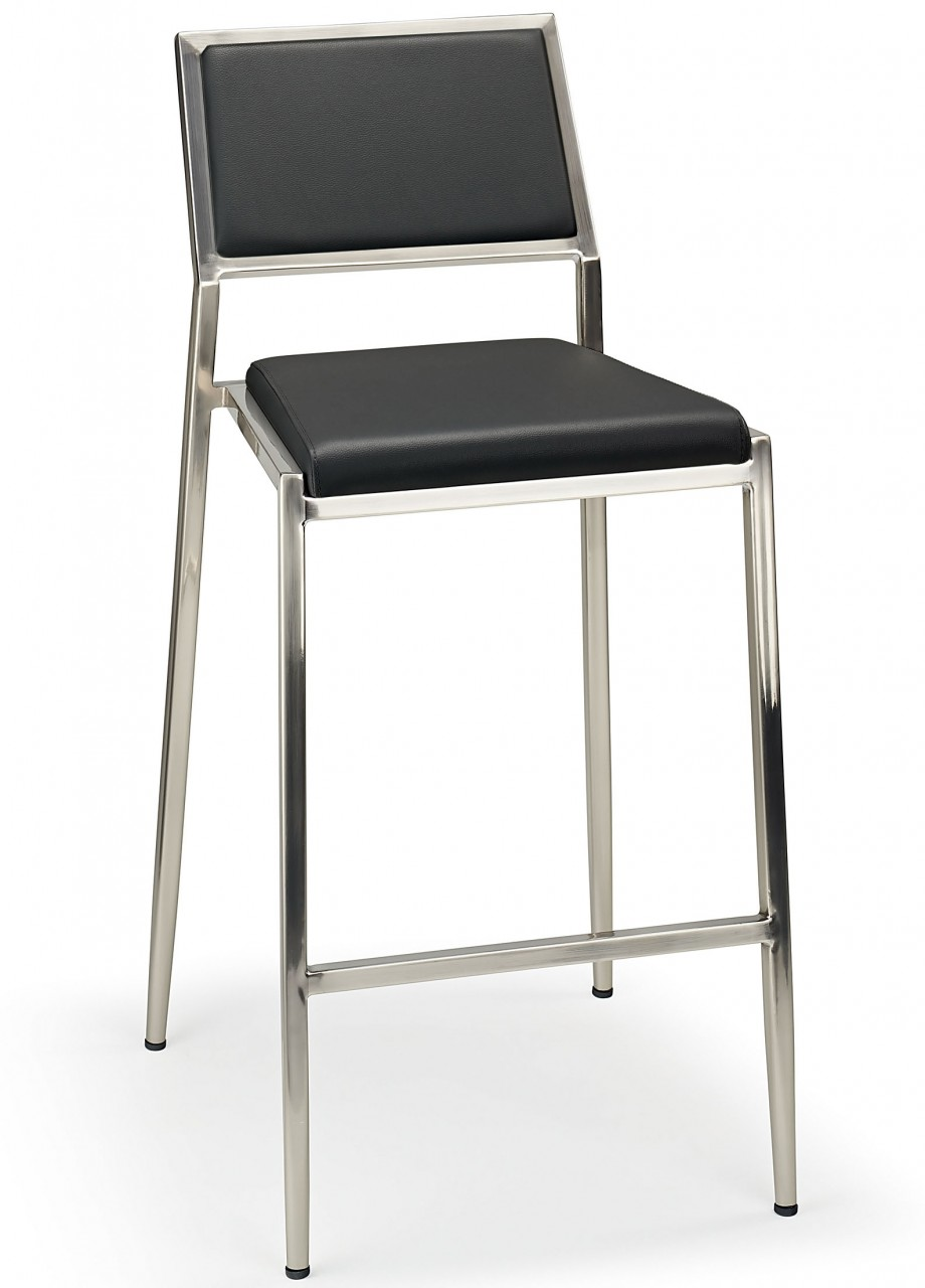 Madon Brushed Bar Stool Fixed Height With Backrest Fully Assembled