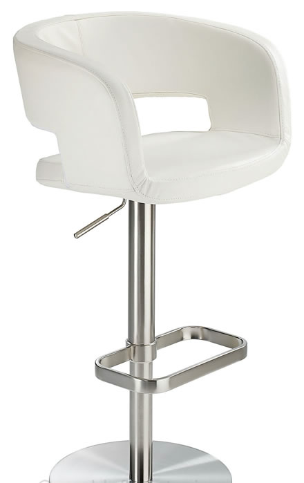 Appius Height Adjustable Brushed Bar Stool With Faux Leather Bucket Seat And Armrest