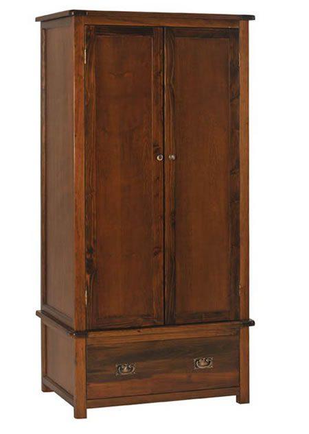 Bozz Antique Wood Bedroom Wardrobe 2 Door 1 Drawer With Rail - Dark Brown
