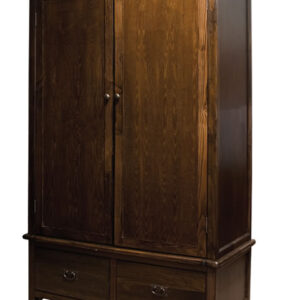 Bozz Antique Wood Bedroom Wardrobe 2 Door 2 Drawer With Rail - Dark Brown
