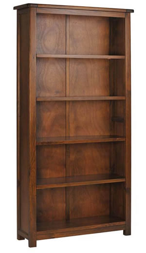 Bermont Dark Antiqued Softwood 5 Shelf Tall Bookcase