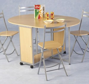 Bolton Economy Folding Kitchen Dining Set Beech/Silver