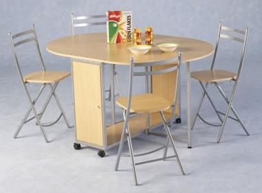 Bolton Economy Folding Kitchen Dining Set Beech/Silver