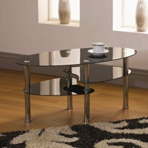 Cami Coffee Table With Shelves - Walnut/Glass/Black - Clear Glass