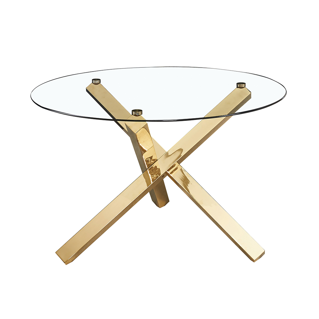 Celly Dining Table Glass Top With Gold Legs
