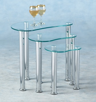 Gary Glass Nest Of Tables - Clear Or Black 3 Tables - Glass