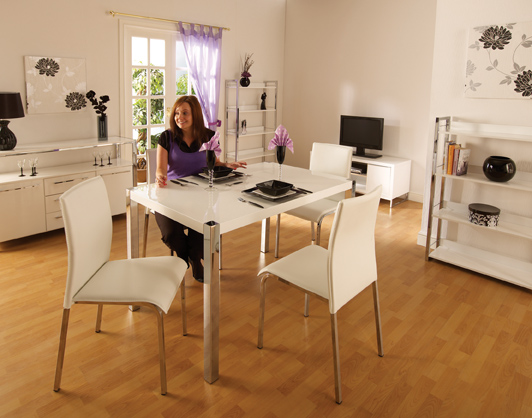 Carine White Gloss Kitchen Dining Set With 4 Chairs
