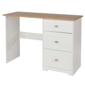 Kolo Single Pedestal Dressing Table Off Cream And Oak