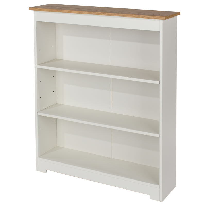 Kolo Low Wide Bookcase With Adjustable Shelves Off Cream And Oak