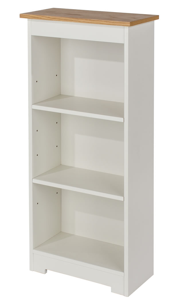 Kolo Low Narrow Bookcase With Adjustable Shelves Off Cream And Oak
