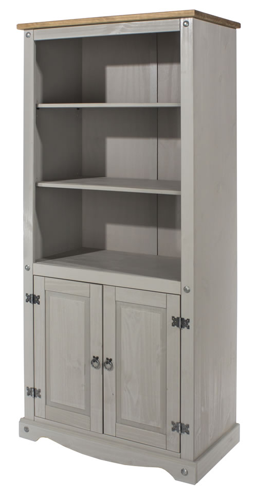 Coson Grey Pine 2 Door Bookcase With Adjustable Shelves