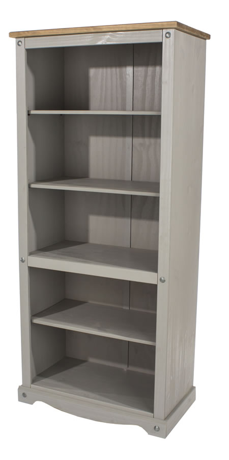 Coson Grey Pine Tall Bookcase With 3 Adjustable Shelves And 1 Fixed