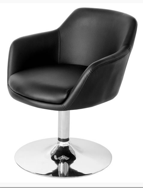 Leisure Tub Bucket Chair  Black Padded Seat Swivel Chrome Frame