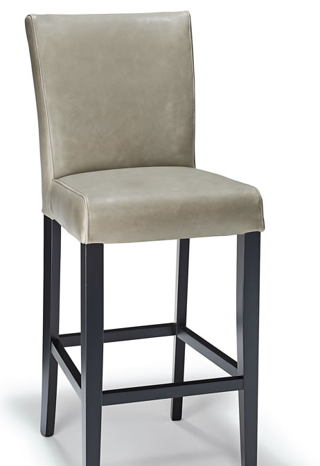 Charro Grey Aniline Real Leather Hardwood Frame Padded Bar Stool Fully Assembled