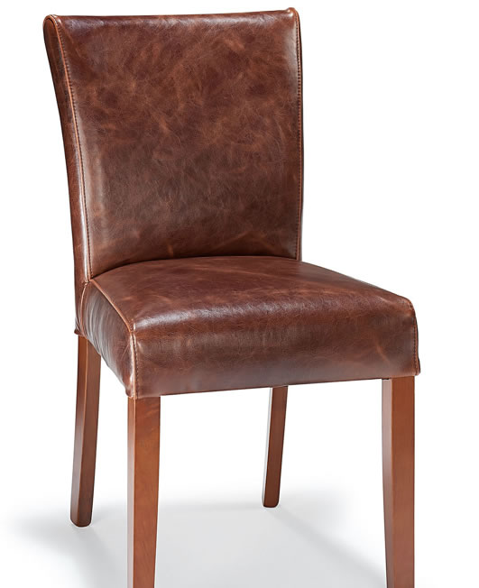 Charro Aniline Leather Dining Chair Aged Brown Real Leather Seat Walnut Legs Fully Assembled