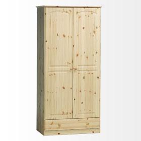Chelsea Solid Pine Wardrobe - 2 Door 1 Drawer Danish Made Quality