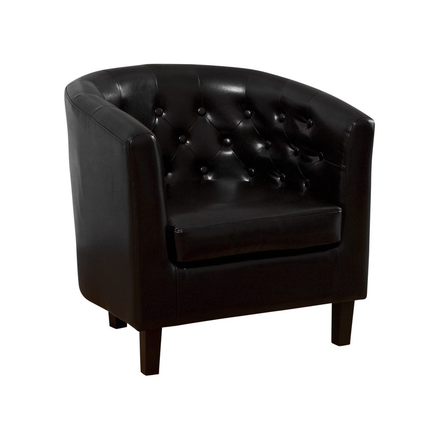 Avoni Chesterfield Style Leather Quality Tub Chair - Black