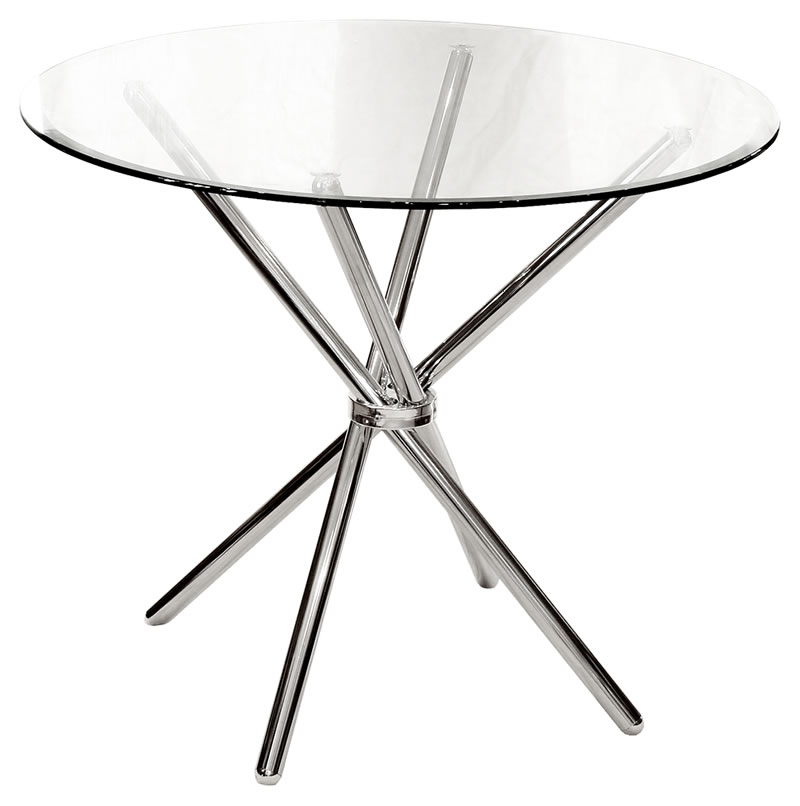 Chicago Modern Clear Round Glass Kitchen Dining Table