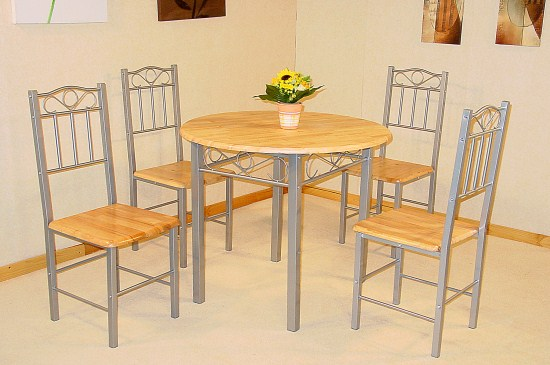 Chrysler Silver And Wood Round Table And 4 Chairs