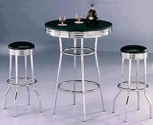 Ny Retro Tall Breakfast Poseur Table And Stool Set