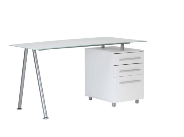 Ohio Frosted White Glass Computer Office Desk With Drawers