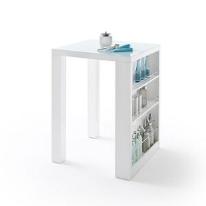 Caspian Square High Bar Table With Shelves - White Gloss & Glass