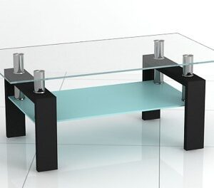 Jorda Coffee Table - Glass And Stainless Steel With Shelf