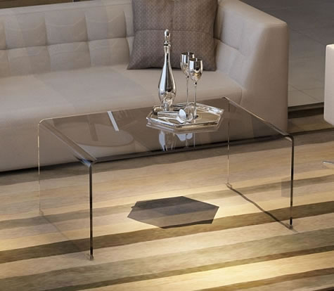 Bina Modern Curved Clear Or Black Glass Coffee Table 2 Sizes