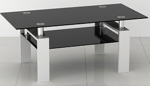 Petra Black Glass Coffee Table With Shelf