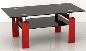 Petra Glass Coffee Table - Black Tempered Glass & Stainless Steel Legs