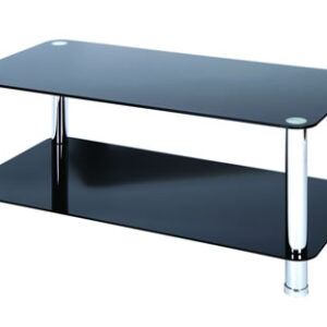 Lotus Coffee Table - Black Glass With Chrome Legs - Black
