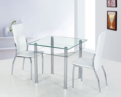 Cosmo Square Glass Dining Table And Ivory Chairs Chrome Table Legs