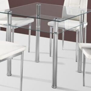Cumi Glass 80Cm Kitchen Dining Table Double Shelf