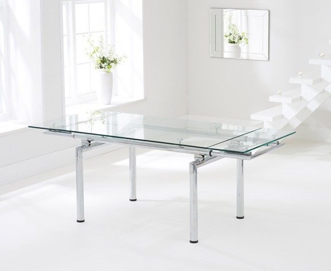 Cosmo Large Extendable Clear Glass Dining Kitchen Table Chrome Frame Modern Stylish