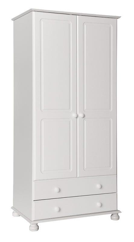 Tracy 2 Door 2 Drawer Wardrobe In White