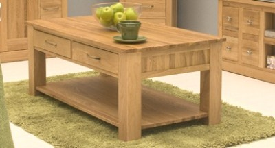 Allison Oak Contemporary Coffee Table 2 Drawers - Fully Assembled