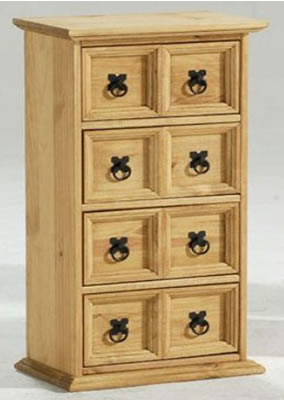 Lauserine Solid Pine CD Storage Unit Chest Of Drawers 4 X 2