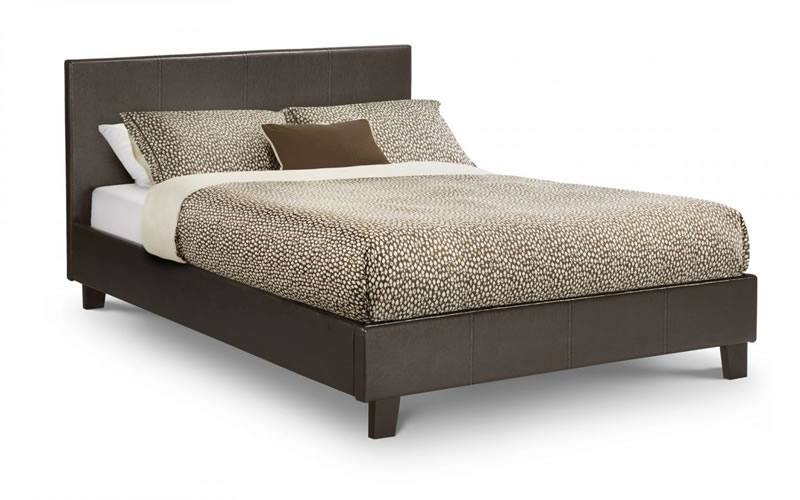 Coz Large Double Elegant Bed Brown Faux Leather