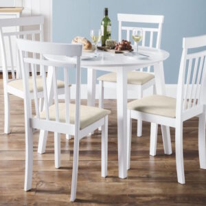 Corel Round Wooden Dropleaf Small Dining Table With 4 Fully Assembled Chairs