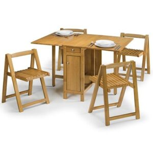 Cranny Folding Space Saver Dining Kitchen Table Set - Natural