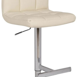 Cuborn Cream Bar Stool Faux Leather Seat And Back