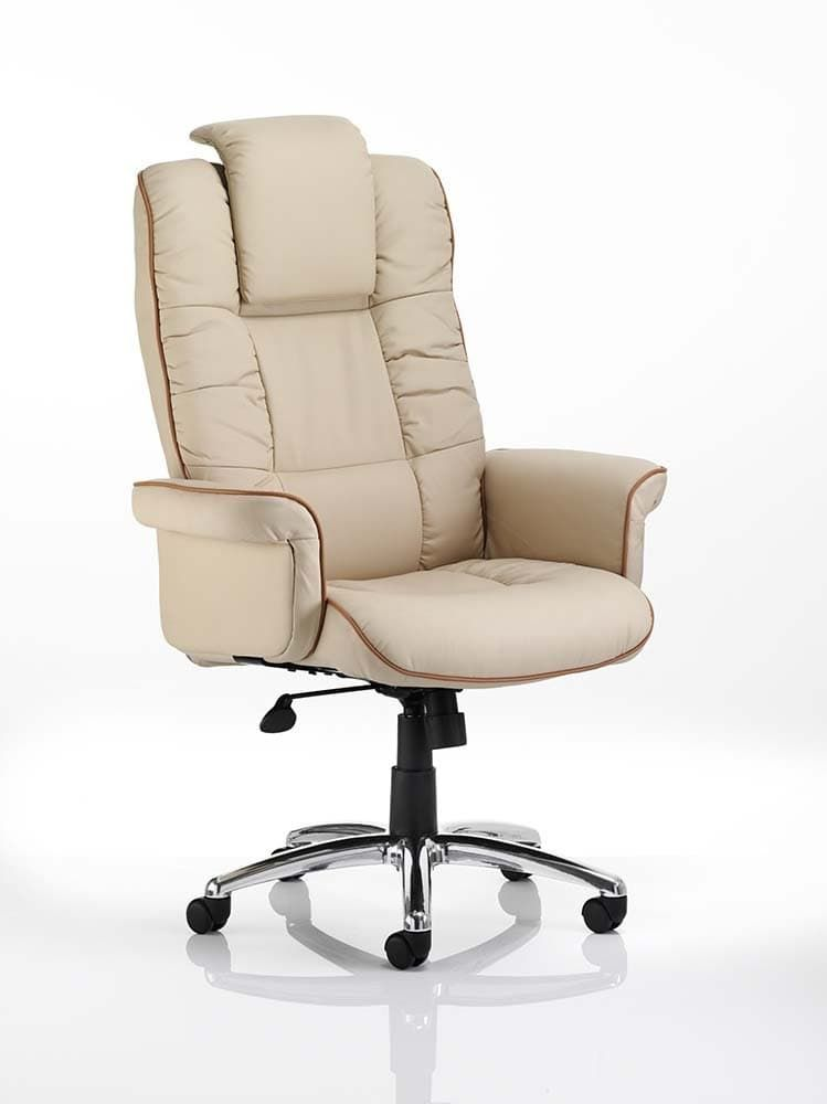Chel Leather Swivel Adjustable Office Chair - Cream