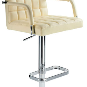 Kaybon Cream Retro Bar Stool Height Adjustable Padded Seat And Arms